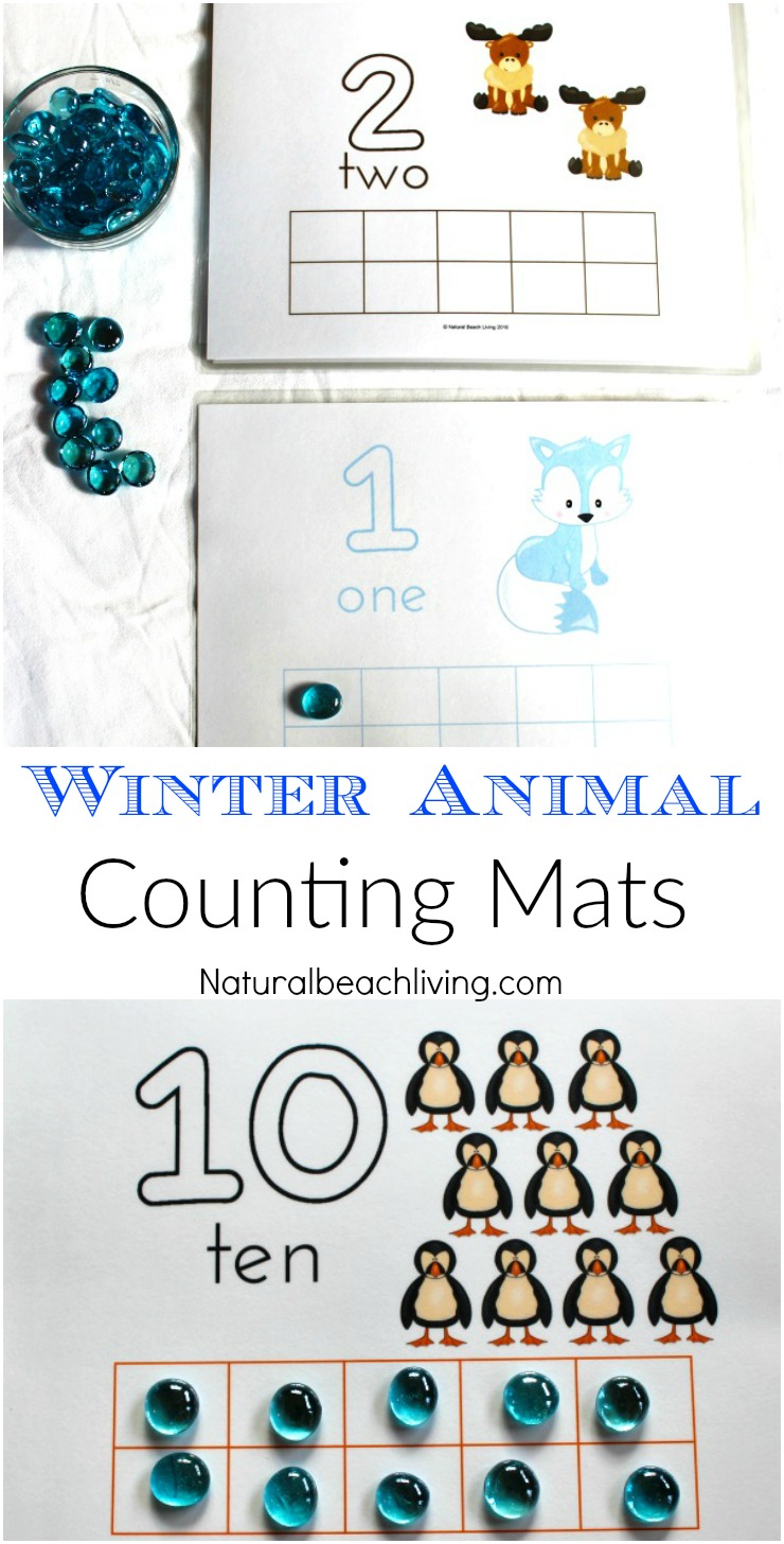 Winter Animal Printable Number Playdough Mats