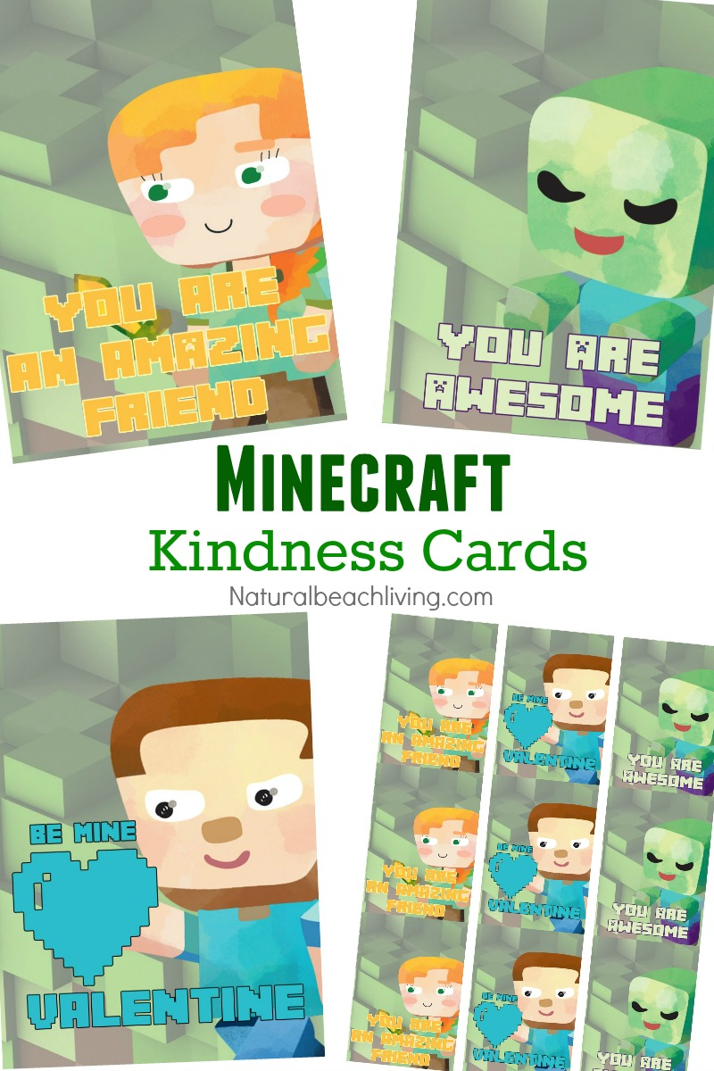 Minecraft Printables Free, Random Acts of Kindness Cards, Valentine's Day Cards, Perfect for your little builder and Minecraft Enthusiast, Free Printables