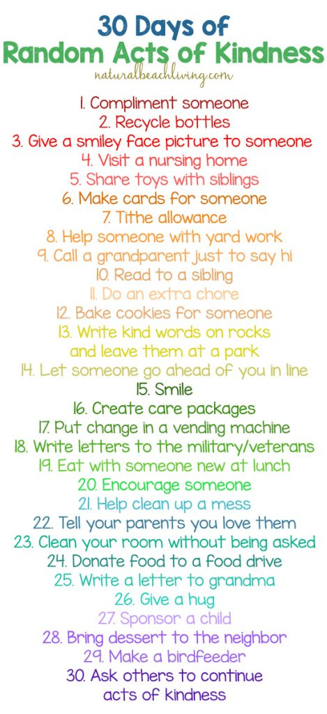If you're looking for ways to show Acts of Kindness for kids, you'll find plenty of great ideas and examples here. Kindness is so easy to spread! The beauty of Random Acts of Kindness is that it can be a wide variety of ideas. If you are looking for a few acts of kindness ideas to help get you started you'll find over 100 fun Random Acts of Kindness ideas here.
