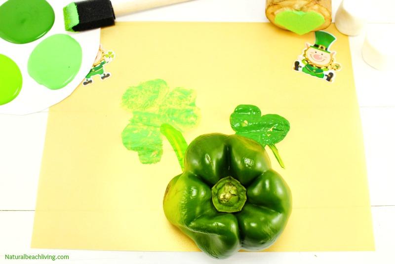 Kindergarten and Preschool St. Patrick's Day Crafts, Shamrock Stamping, Rainbow crafts, Hands on activities for kids, St. Patrick's Day crafts for kids