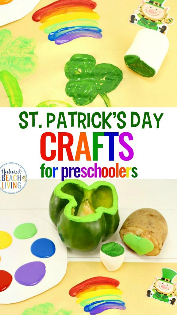 Preschool St. Patrick's Day Crafts with Shamrock Stamping and rainbow crafts with marshmallows, St. Patrick's Day crafts for kids, St. Patrick's Day Preschool Crafts, I hope your children love these Shamrock Stamping Ideas perfect for preschool and toddler St. Patrick's Day Crafts