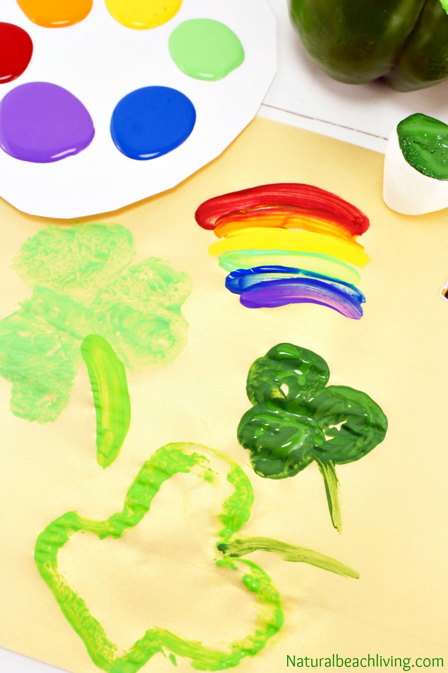 St. Patrick's Day Crafts, Marshmallow Stamping, Rainbow crafts for kids