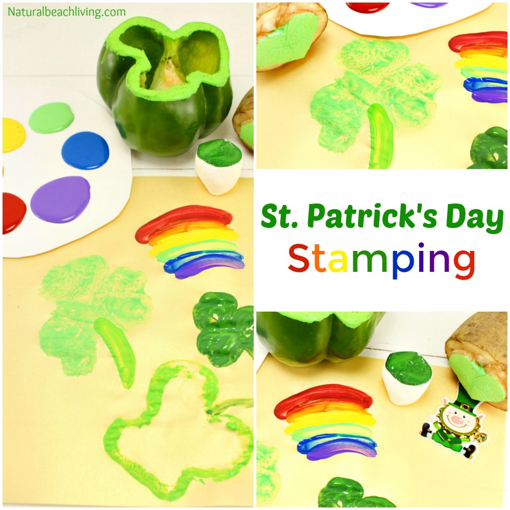 Preschool St. Patrick's Day Crafts with Shamrock Stamping and rainbow crafts with marshmallows,  St. Patrick's Day crafts for kids, St. Patrick's Day Preschool Crafts, I hopeyour children love these Shamrock Stamping Ideas perfect for preschool and toddler St. Patrick's Day Crafts