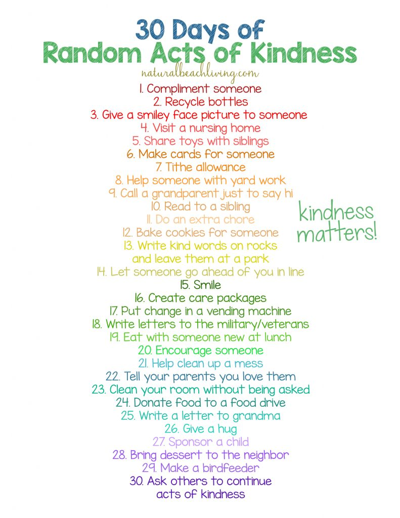 30 days of random acts of kindness