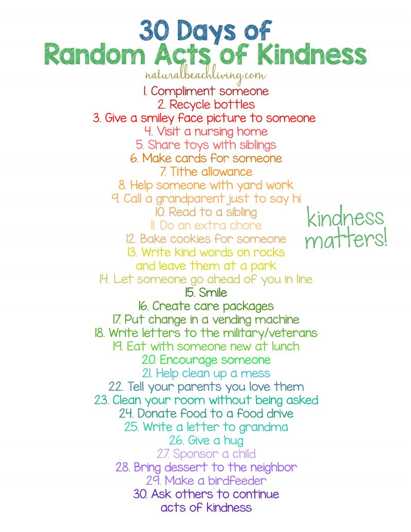 30 Random Acts of Kindness Ideas for Kids