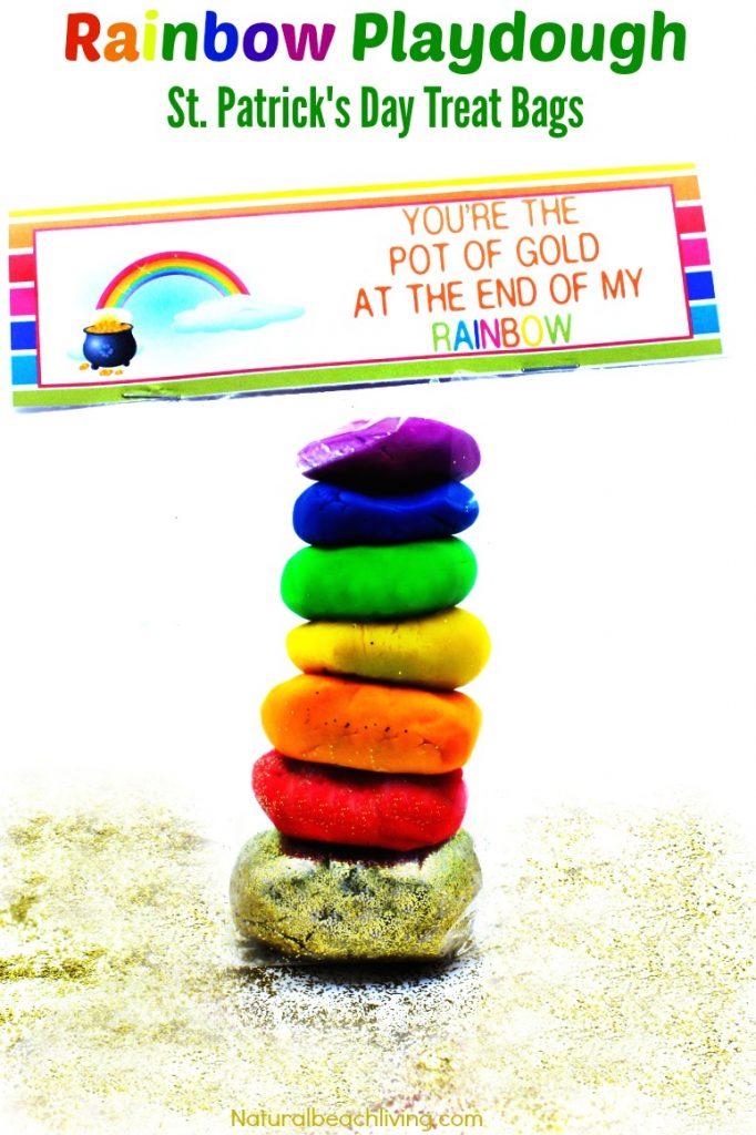 Rainbow Playdough St. Patrick's Day Treat Bags, Perfect Party bags for St. Patrick's Day, Free Printables, Rainbow ideas for kids, Pot of gold playdough fun