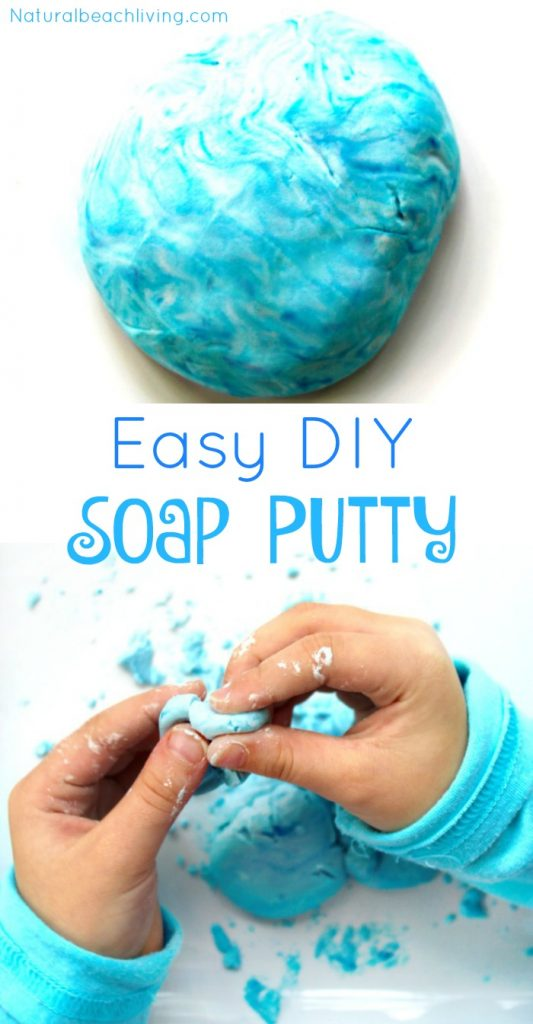 The Coolest Soap Putty, This Dish Soap Putty is so much fun, 2 ingredients easy to make sensory play for kids, Homemade Soap that's also putty, Bubble Bath Soap Dough for Kids