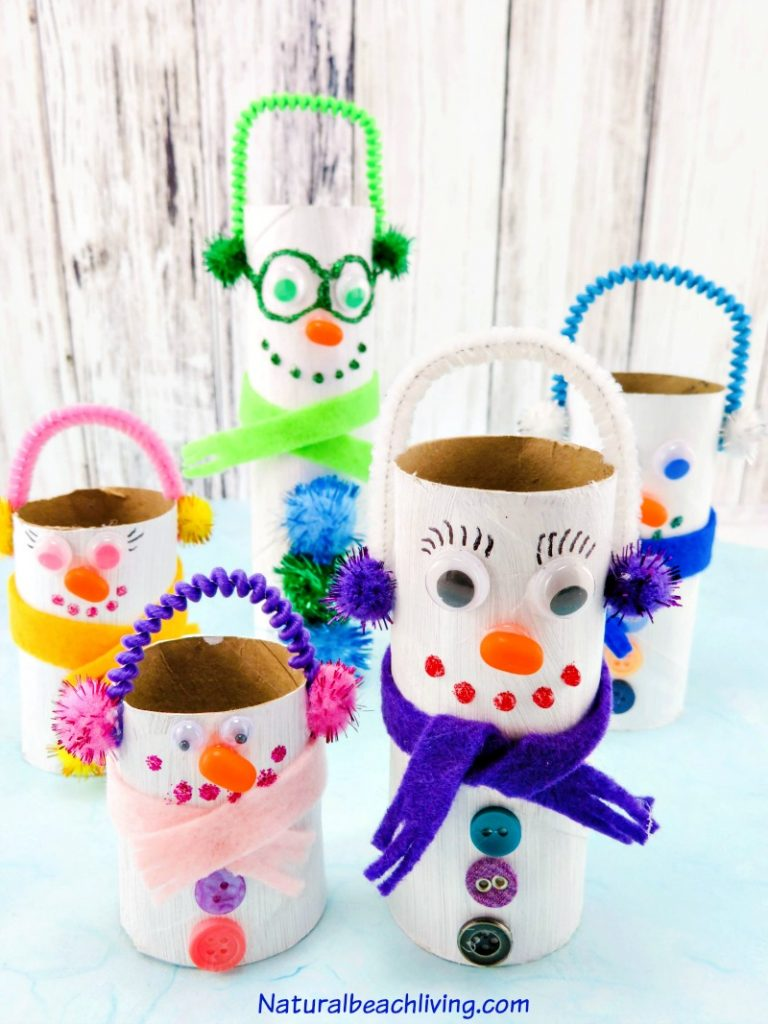 These Winter Preschool Crafts are so much fun with popular winter favorites like polar bear crafts, penguins, homemade bird feeders, and of course, snowflakes, and lots of snowmen crafts! These quick and easy winter kids crafts are perfect for all ages.