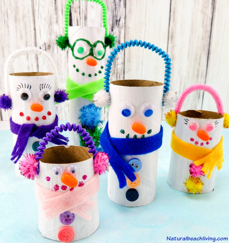 This is the cutest Snowman Family, DIY Toilet Paper Roll Snowman Crafts for Kids that are perfect for Winter, Christmas Craft, Snowman theme, Absolutely Adorable