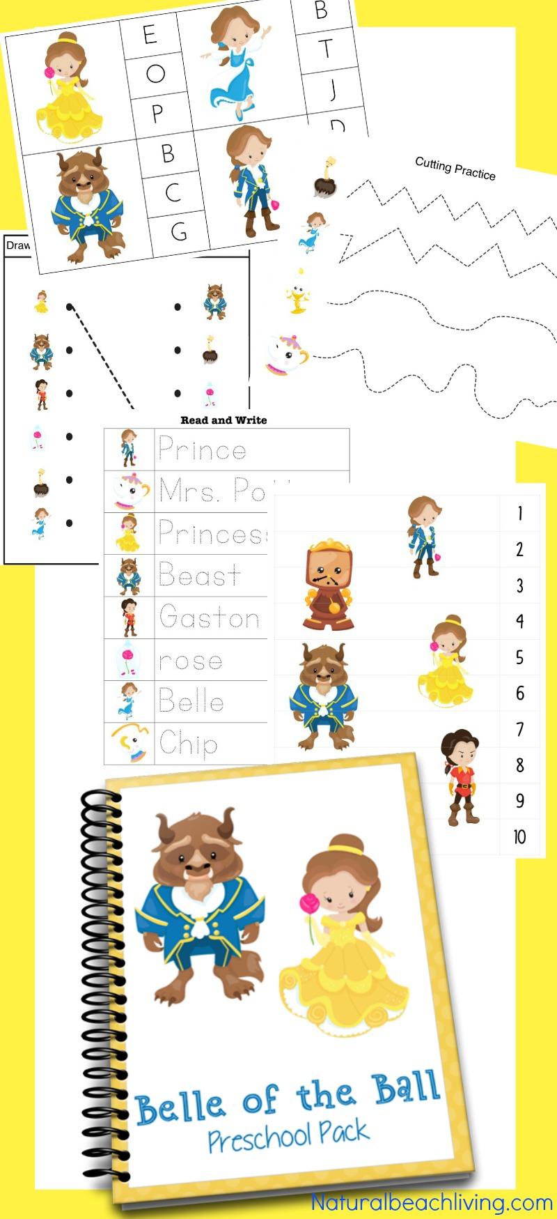 Beauty and The Beast Printables for Preschool & Kindergarten