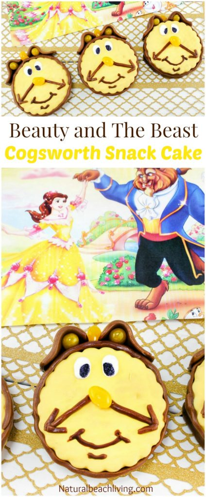 The Cutest Cogsworth Beauty and The Beast Snack Cake, Yummy, perfect party food, Beauty and The Beast Party Ideas, Kids snack idea, I'm in love