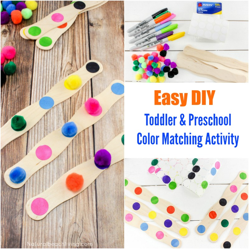 DIY color sort prechool and toddler idea, busy bag