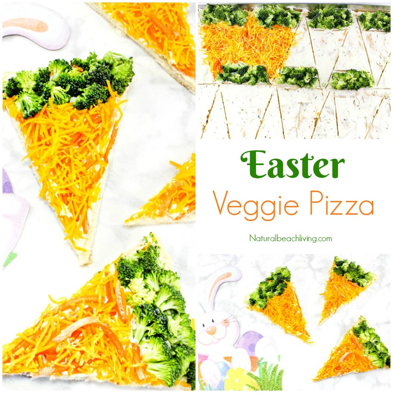 Delicious and Easy Easter Veggie Pizza, You can make this Crescent roll veggie pizza with just a few ingredients. This makes the Best Veggie Pizza Recipe, Yummy Easter Pizza the kids love, and a perfect lunch for a garden theme too. Make a carrot-shaped veggie pizza for a tasty snack