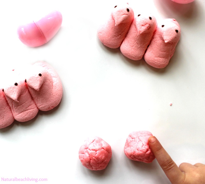 Edible Bubblegum Peeps Play Dough Recipe is so cool, cross between soft play dough and putty this yummy sensory play is just like real gum, Fun Easter idea