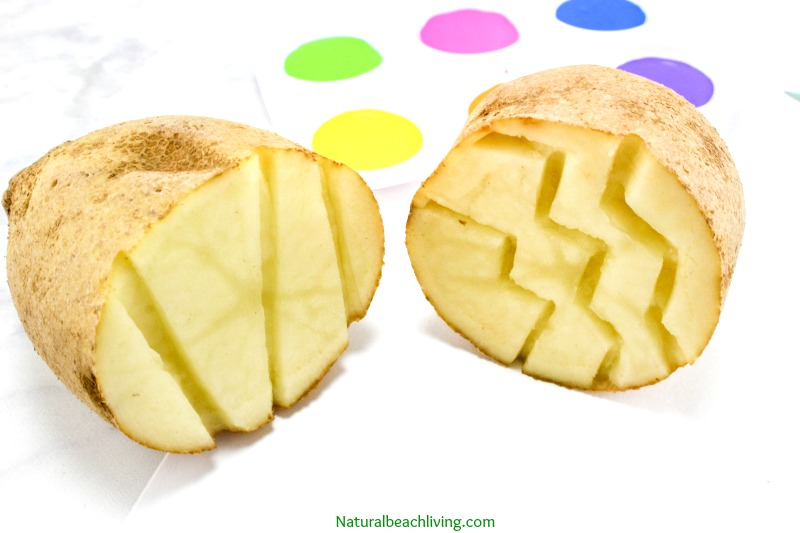 The Best Easter Egg Potato Stamp Ideas for Kids, Great Easter Craft for preschoolers, Potato Stamping for kids, Easter Art for preschoolers and Spring Activities for Kids, Easter ideas for preschoolers