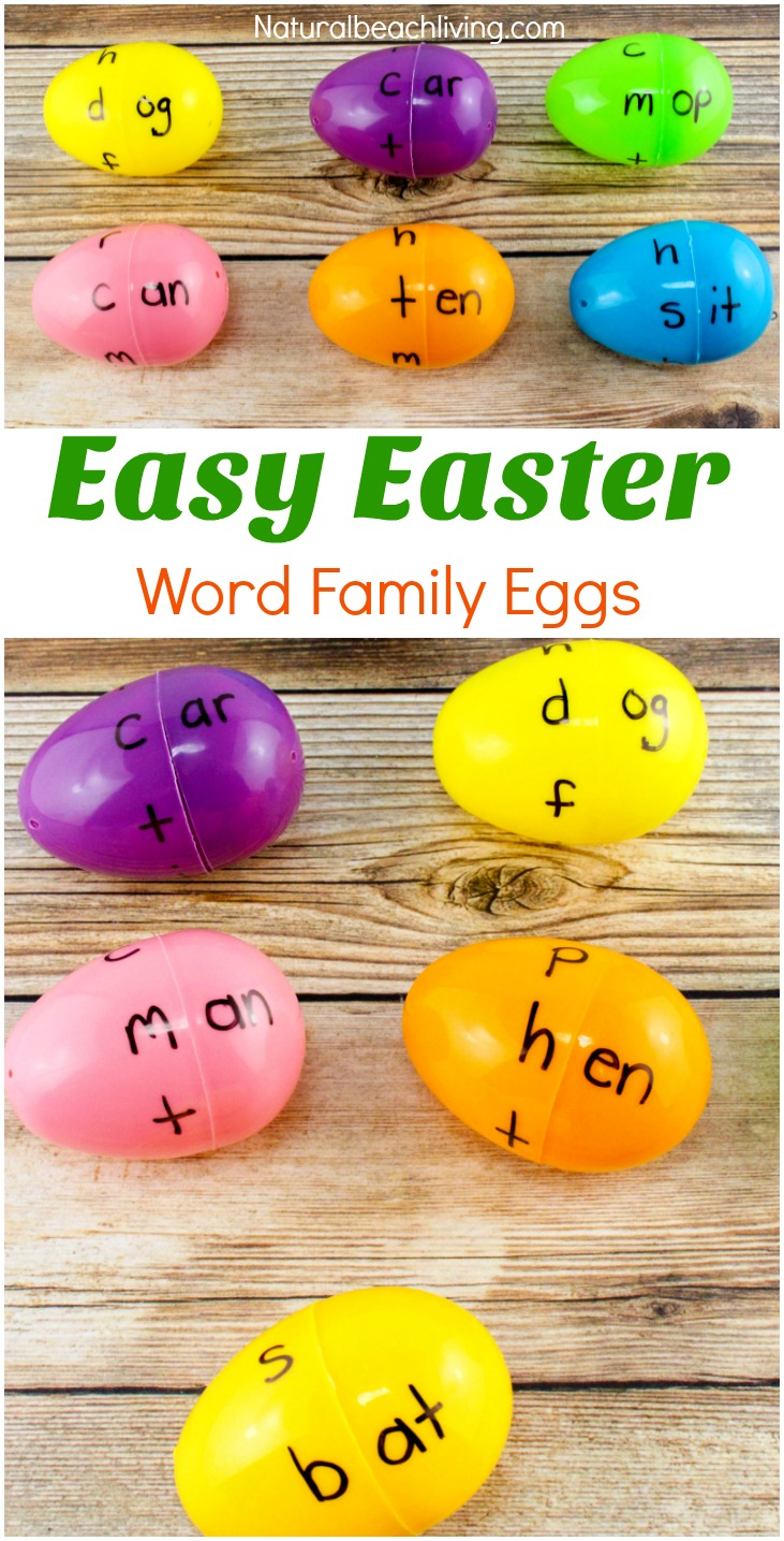 Kids love learning with Easter Eggs for a fun Kindergarten Easter Activity. Easter Word Family Activities for Kindergarten, Word Family Eggs, DIY word family activities, This is a Great Literacy Activity for Preschool and Kindergarten. Add this to your Preschool or Kindergarten Centers or learning trays for Spring