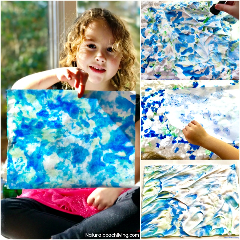 Earth Day Art Activities Shaving Cream Marbled Paper Natural