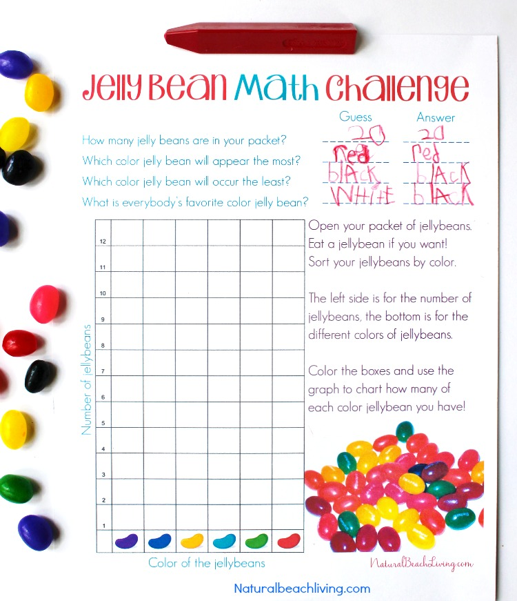 Jelly Bean Math Activities, Jelly Bean Math Graph, Free Jelly Bean Math Printable, Perfect for hands-on activities and Living Math, counting, sorting & more
