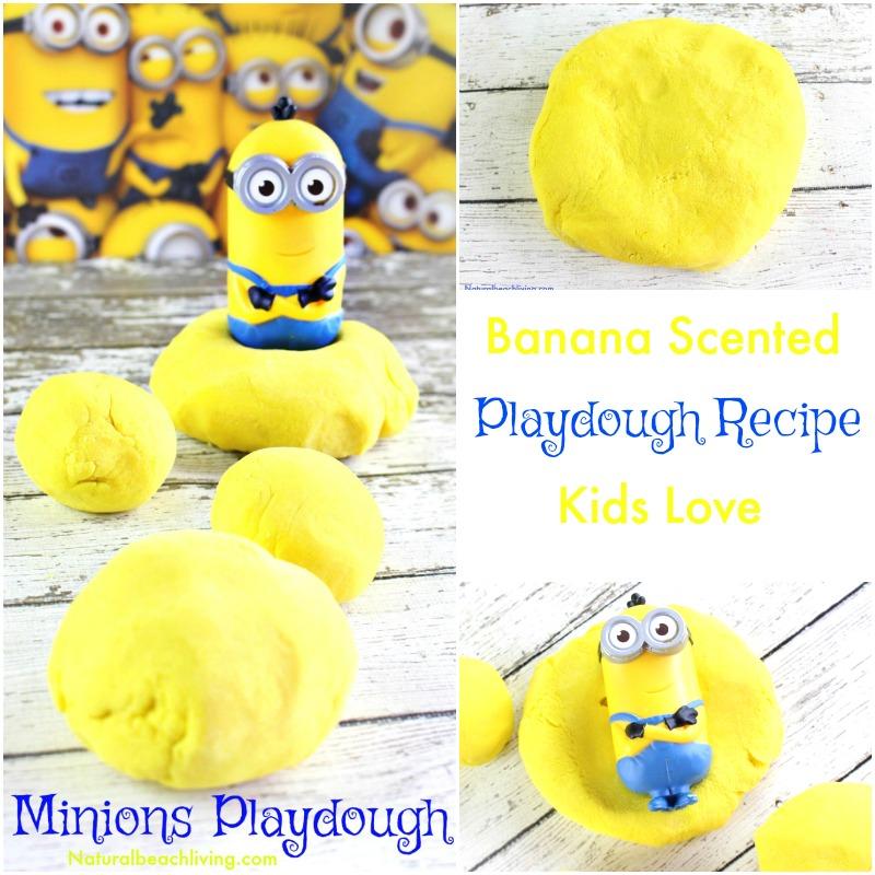 Amazing Playdough Recipe for Kids, Super Fun Minions Play Dough, Banana Scented Playdough, Easy Cooked playdough for kids sensory play, Despicable Me