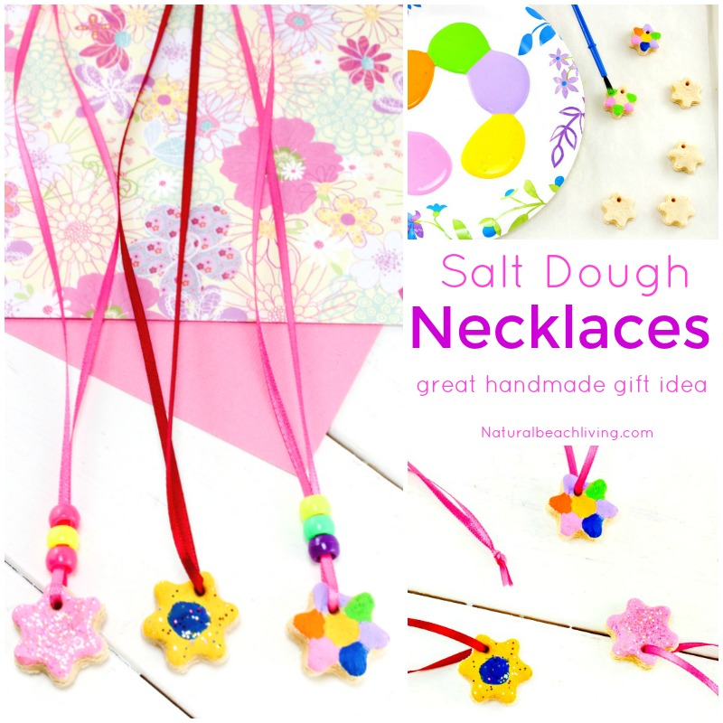 This is the Best Salt Dough Recipe Ever! Make Salt Dough Necklaces and Ornaments for Mother's Day. An Easy Handmade gift idea for kids, Use this for a Mother's Day Art Project or Process Art activity for preschoolers.
