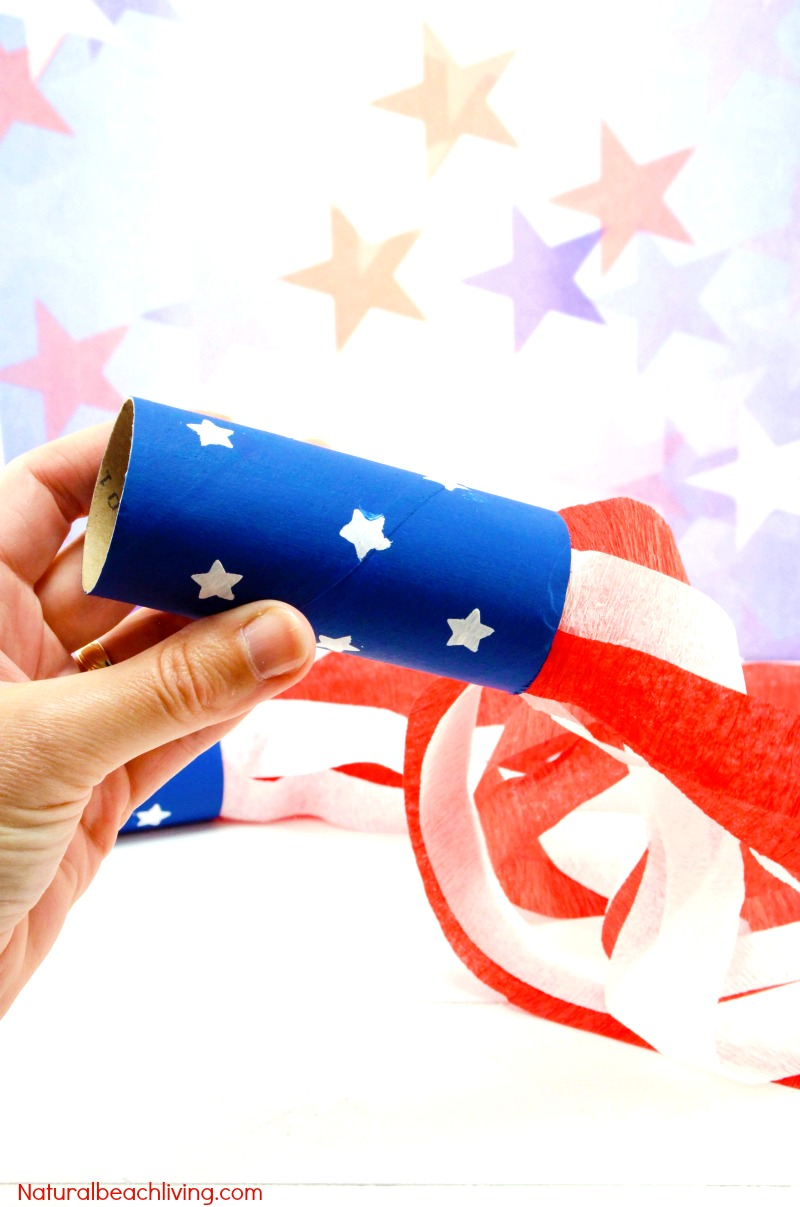 4th of July Crafts for Kids, You'll LOVE this Patriotic Craft Blower, It's a cute Patriotic Craft Idea for Kids, Paper Tube Crafts are easy and cheap craft ideas for kids, These Summer crafts are a perfect party idea for kids, Have Fun with this July 4th Kids Craft idea for toddlers, preschoolers and school age children