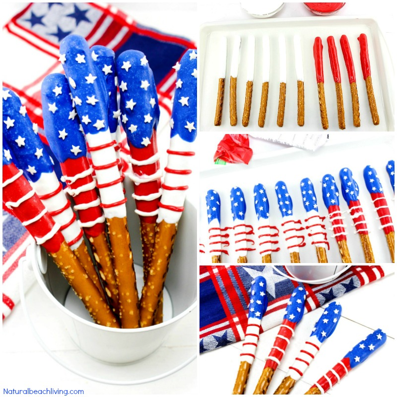 How to Make Chocolate Covered Pretzels for 4th of July, Snacks for Memorial Day, 4th of July, Summer treat or Party food, these Chocolate Pretzels are delicious and look amazing on a party table, Summer Snacks