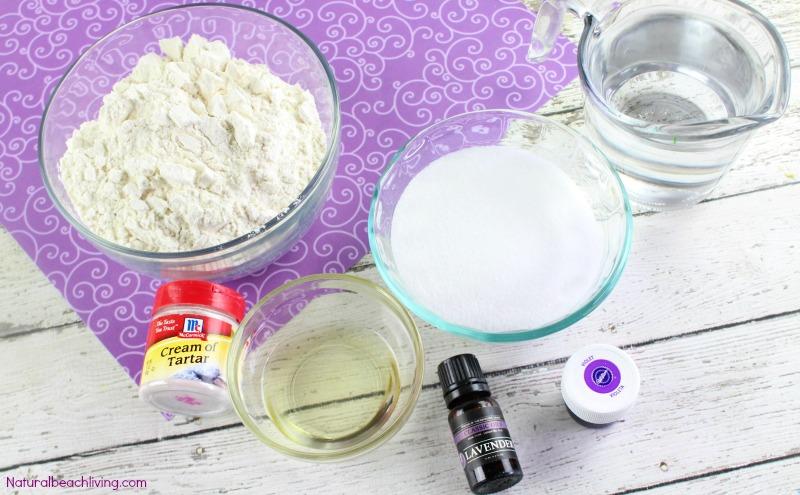 How to Make The Best Lavender Playdough Recipe, Cooked play dough, Calming play dough, Calm down Sensory play, a lovely Homemade playdough recipe