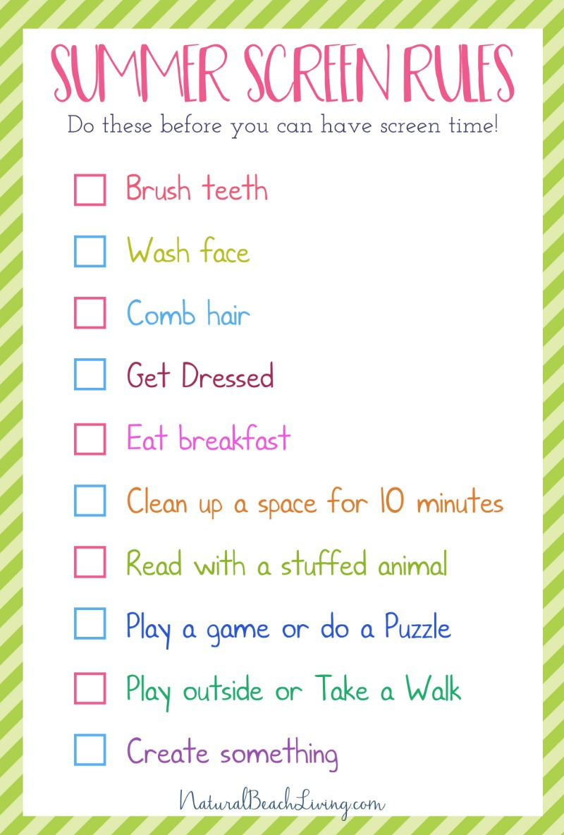 picture relating to Screen Time Rules Printable identified as The Ideal Summer season Guidelines for Small children - Show No cost Period