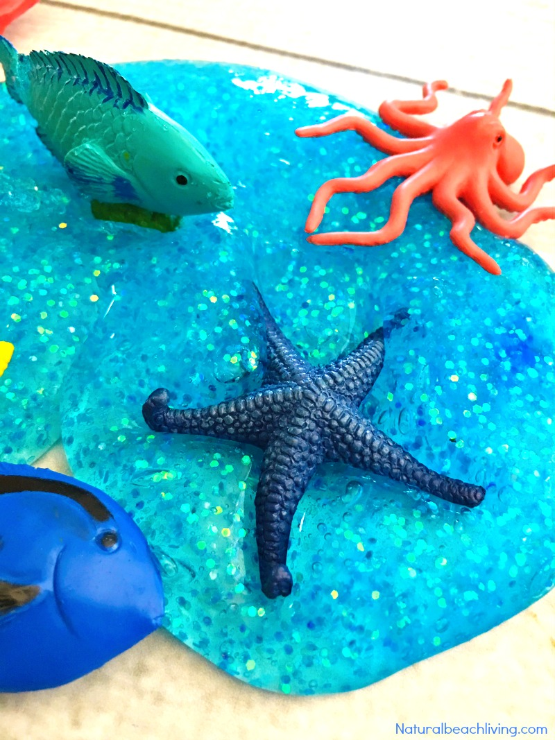 Ocean Jiggly Slime Recipe, Ocean Theme Activities, Ocean sensory play