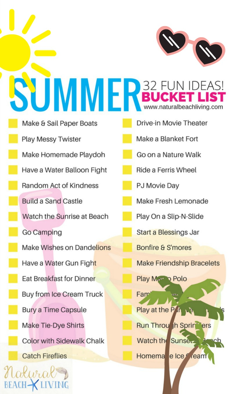 graphic relating to Bucket Printable titled Summertime Bucket Listing Tips for Children (Absolutely free Printable) - Natural and organic