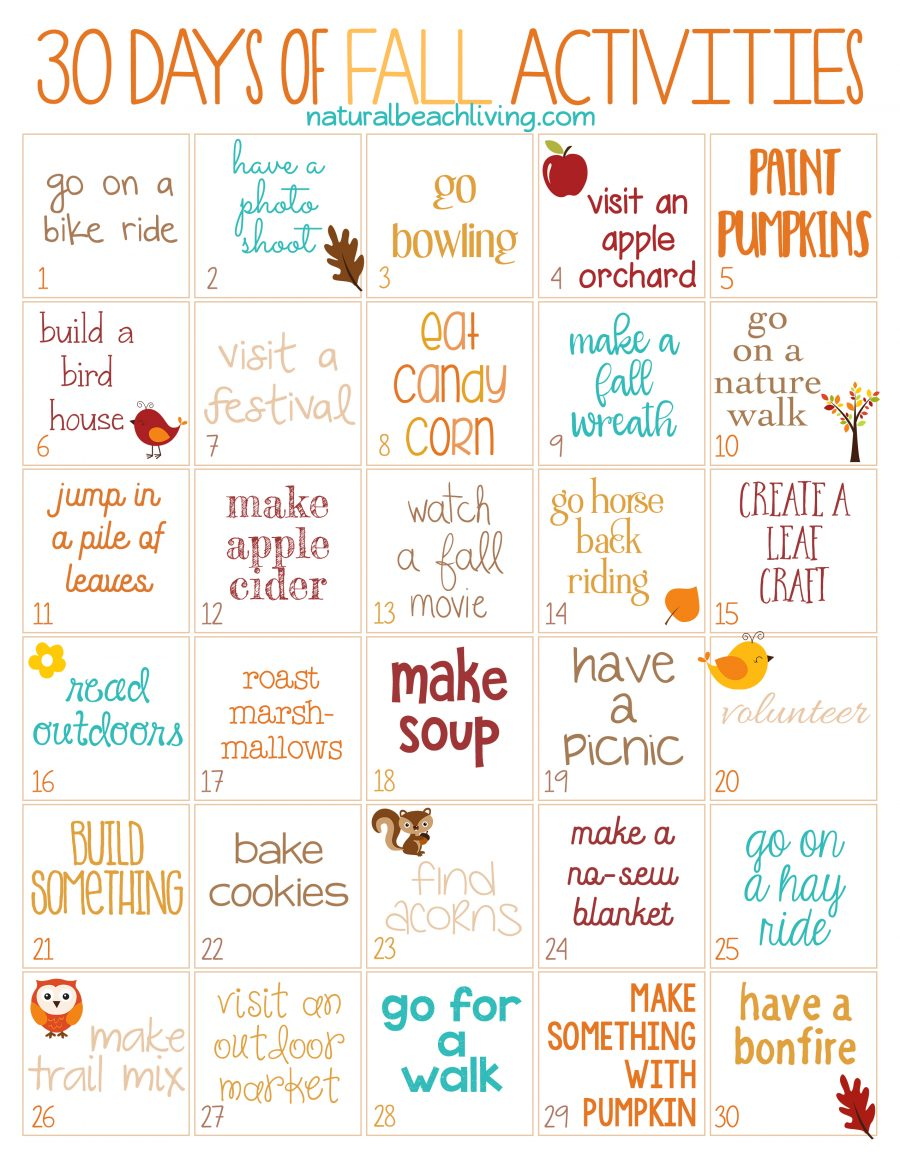 graphic relating to Autumn Printable identified as 30 Times of Slide Actions for the Complete Spouse and children (totally free
