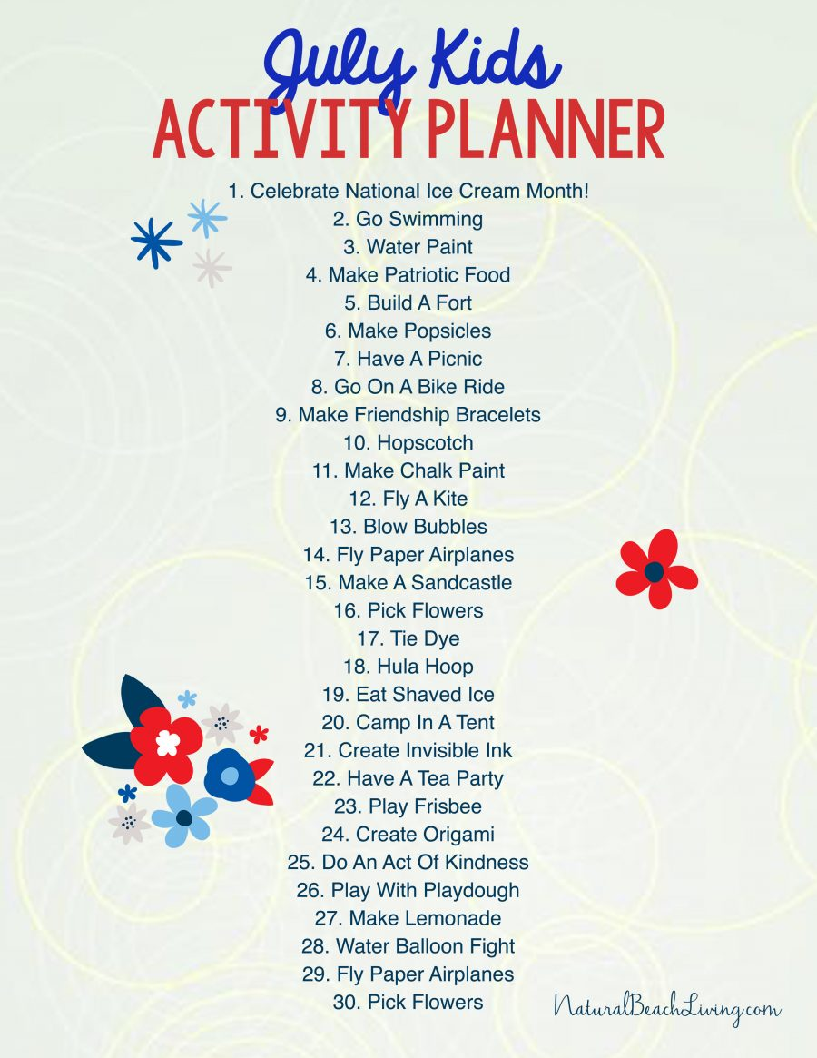 Free Summer Activity Calendar Kids Love, July activity calendar, Free Summer Ideas for Kids, Boredom Busters, Summer Bucket List Ideas, Free Printables