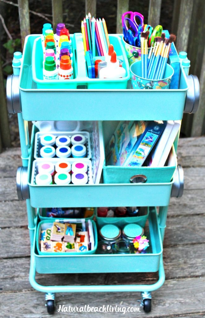 How to set up a kids art cart, art for kids, arts and crafts cart