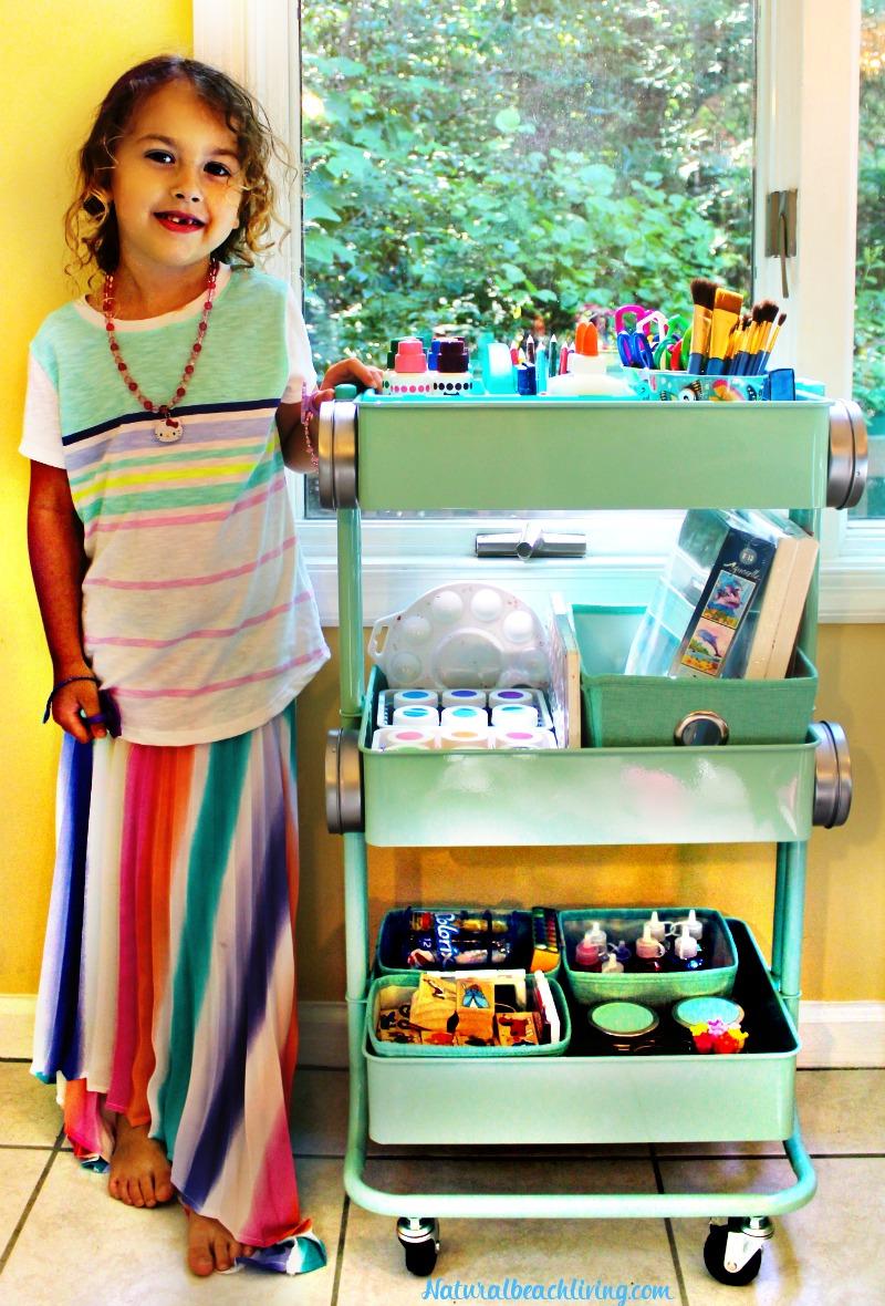 How to Set Up a Kids Arts Crafts Cart, Art Supply Cart for Kids, Easy to set up Arts and Crafts space for kids, Homeschool ideas, Preschool areas, Kid Spaces and arts and crafts for kids