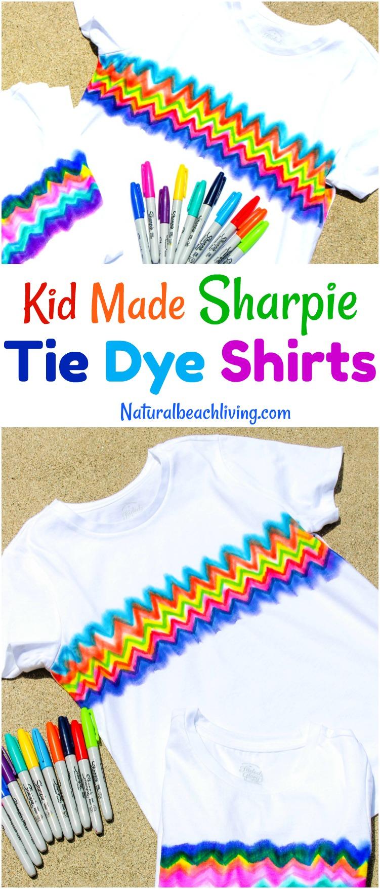 Learn How to Make Super Cool Sharpie Tie Dye Shirts, Tie Dye Craft, Kid Made Gifts, Summer Crafts for kids, Sharpie Art Ideas, Sharpie dyeing, Kid art, Sharpie Crafts