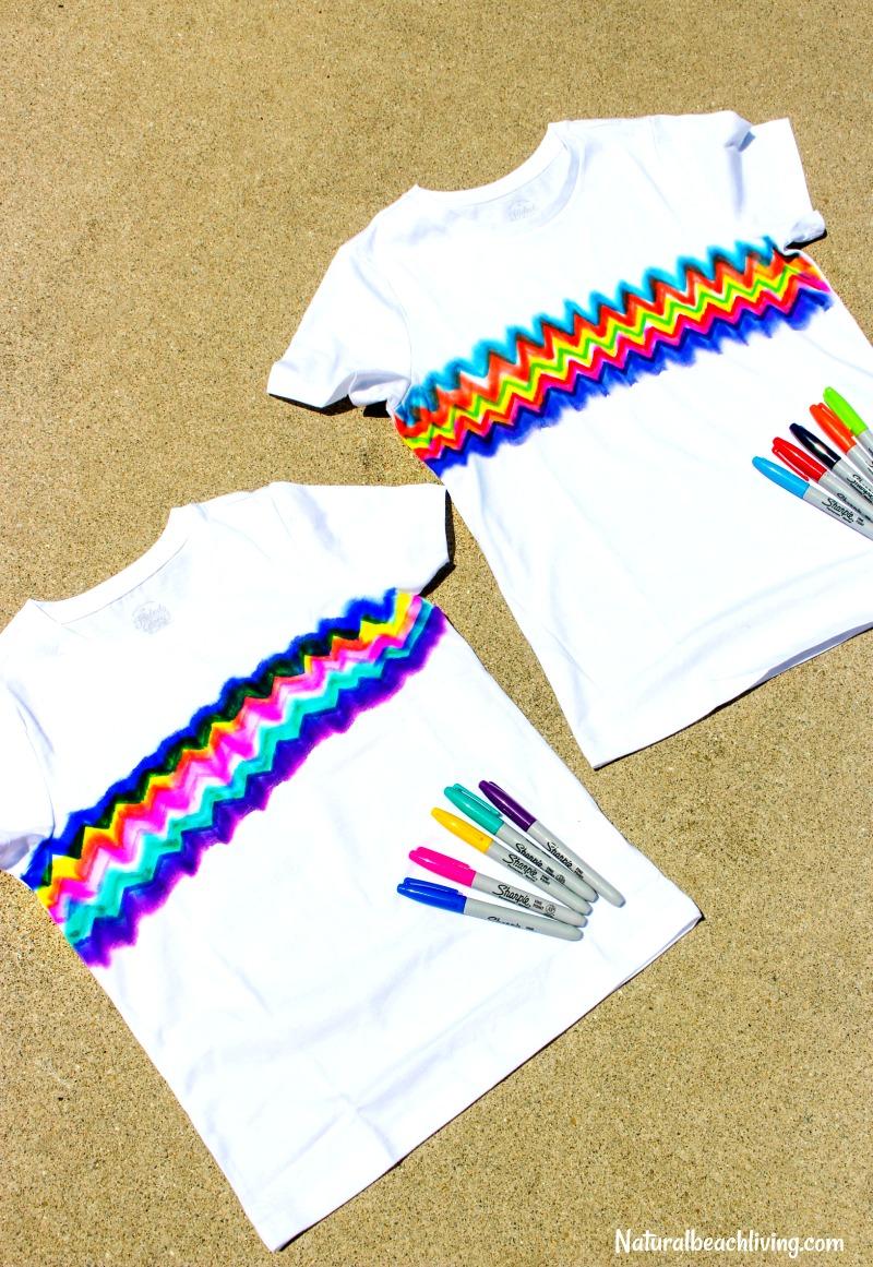 Learn How to Make Super Cool Sharpie Tie Dye Shirts, Tie Dye Craft, Kid Made Gifts, Summer Crafts for kids, Sharpie Art Ideas, Sharpie dyeing, Kid art