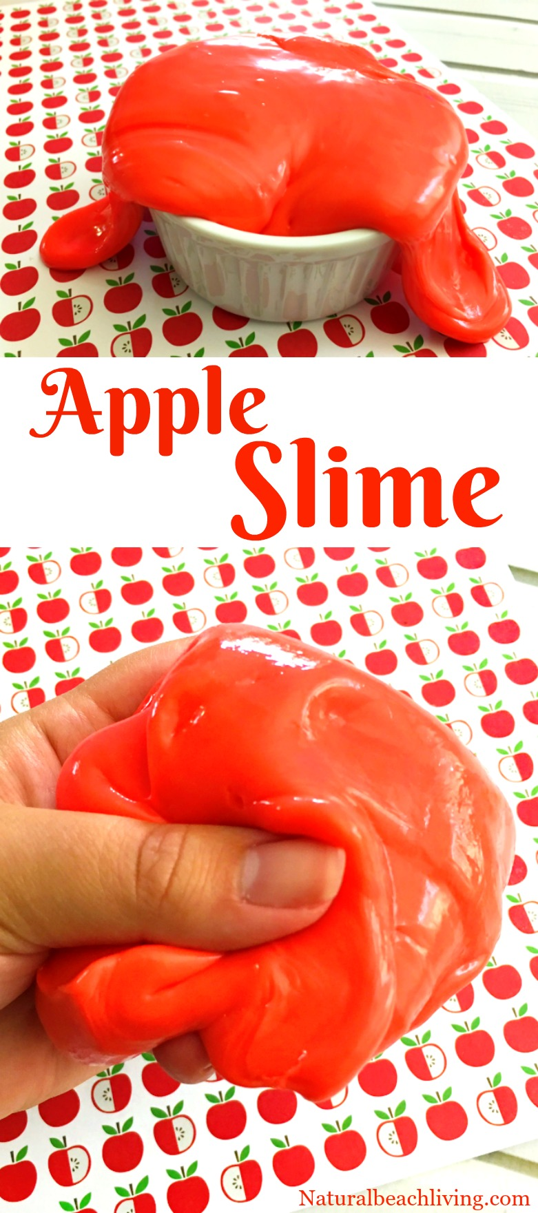 How to Make Apple Jiggly Slime, Slime Recipes, The Best Scented Slime Recipe, Jiggly Slime Recipe, Apple Scented Slime, Slime Recipes, Homemade Slime, Fall Sensory Play, Borax Slime for Kids Activities, #sensoryplay #Slime #slimerecipes