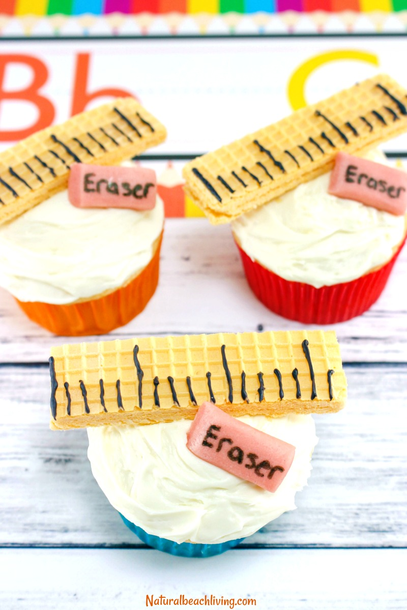 Back to School Cupcakes, School Ruler and Eraser Cupcakes, Back to school food ideas, Back to school party ideas, Back to School Food Party, School Cupcakes