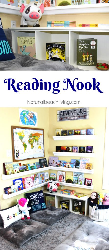 How to Set Up a Reading Nook Kids Love , DIY Rain Gutter Bookshelf, reading areas, Books for Kids