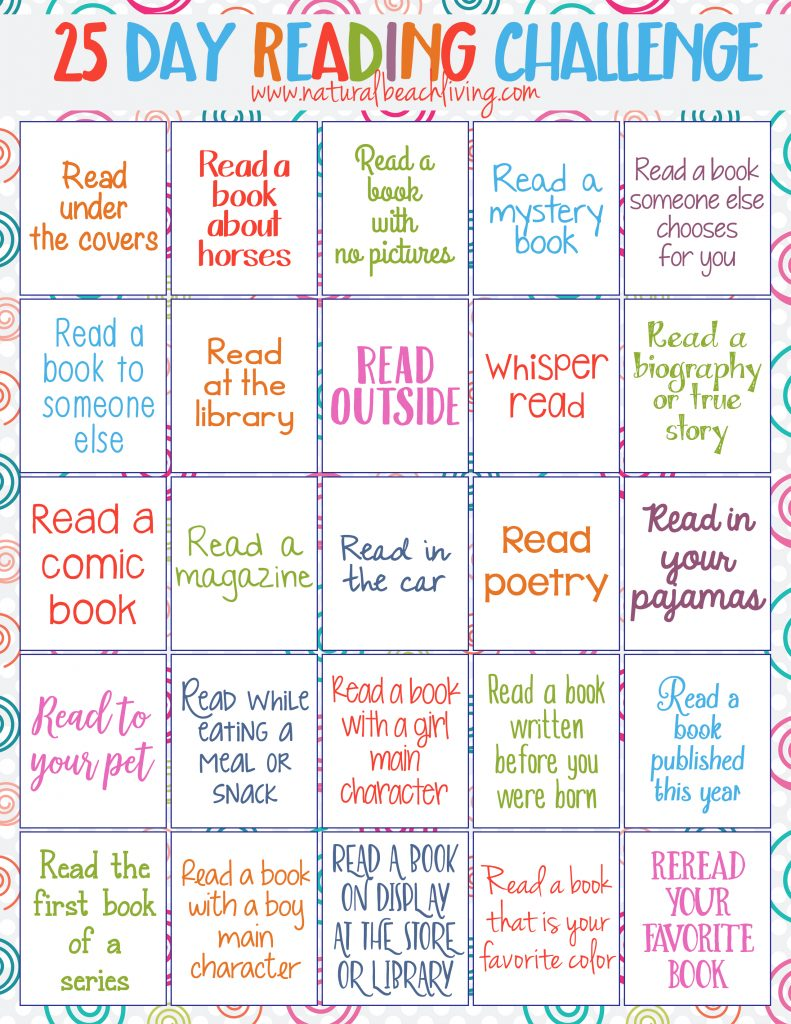 25 Day Reading Challenge For Kids Natural Beach Living