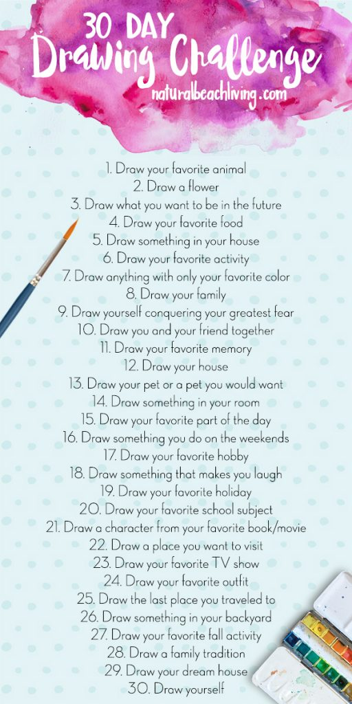 30 Day Drawing Challenge for kids and adults
