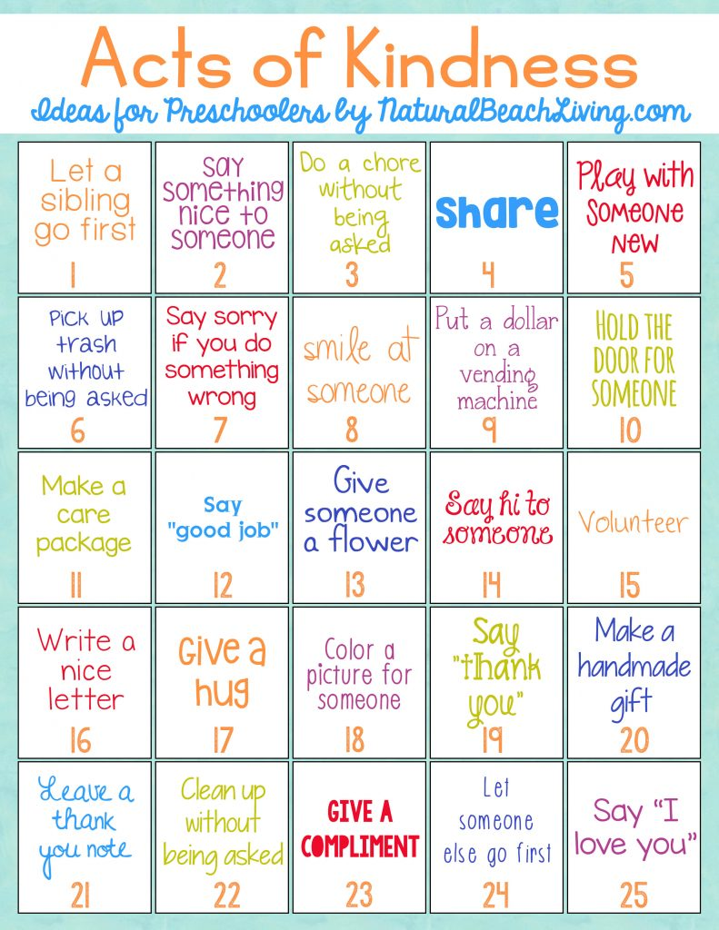 The Best Random Acts of Kindness Ideas for Preschoolers & Kindergarten, Random Acts of Kindness for Kids, Acts of Kindness Printables, Raising Grateful Kids