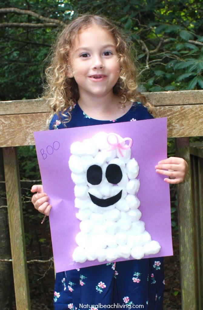 Easy Cotton Ball Ghost Craft for Preschoolers, Fun Ghost Craft, Easy and cheap to make, Cutest Ghost Cotton Ball Craft, Toddler and Preschool Ghost Craft and Halloween Crafts for kids to make.
