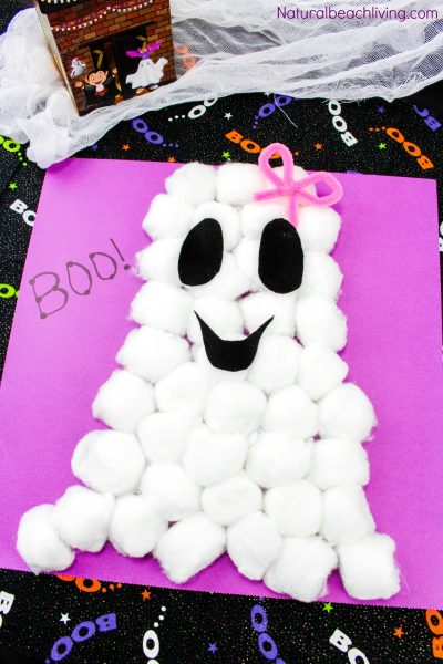 Easy Cotton Ball Ghost Craft for Preschoolers