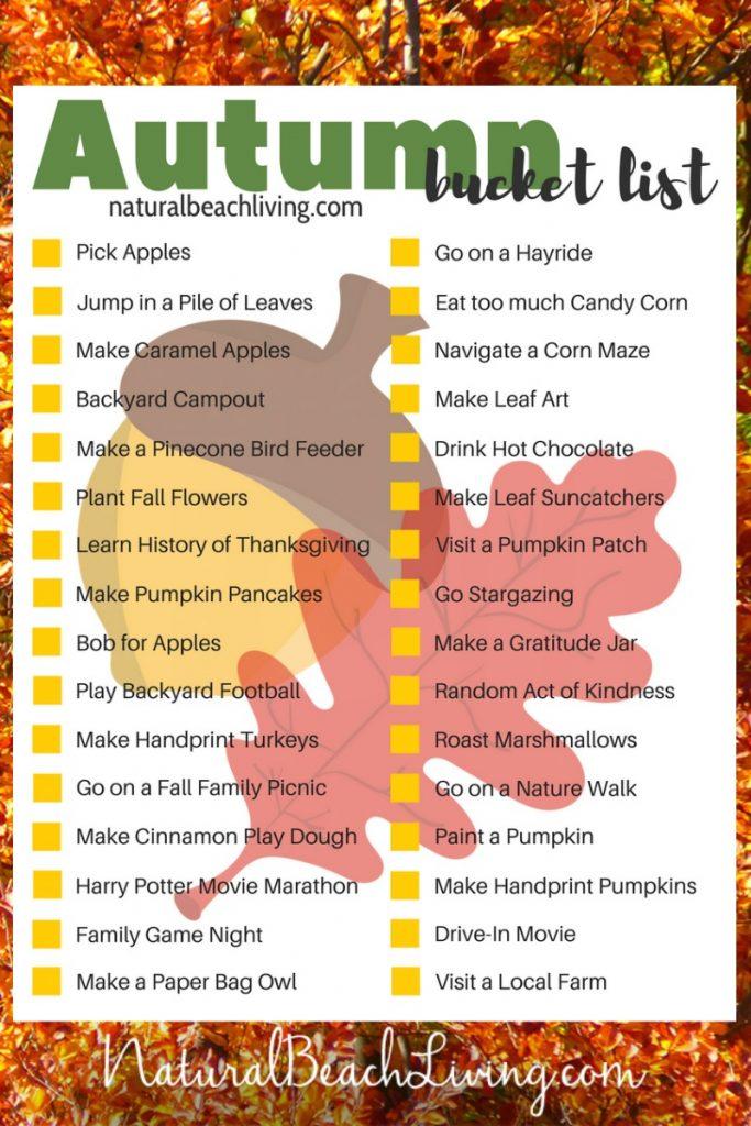 Free Printable Bucket List for Fall, 32 Fun Fall Ideas for Families, Fall Activities, Fall Activities for Kids, Outdoor Fall Activities, Fall Bucket List