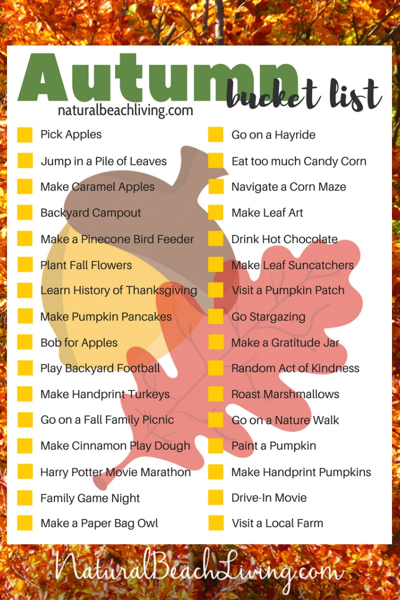 200+ Fall Bucket List Ideas, Fall Themes, Fall Activities and Crafts for Kids and Families, 13 different Fall Bucket List Printables and Fall Bucket Lists for Families, adults, and Kids. Full of wonderful things you want to do and experience this Autumn season. Autumn Bucket List