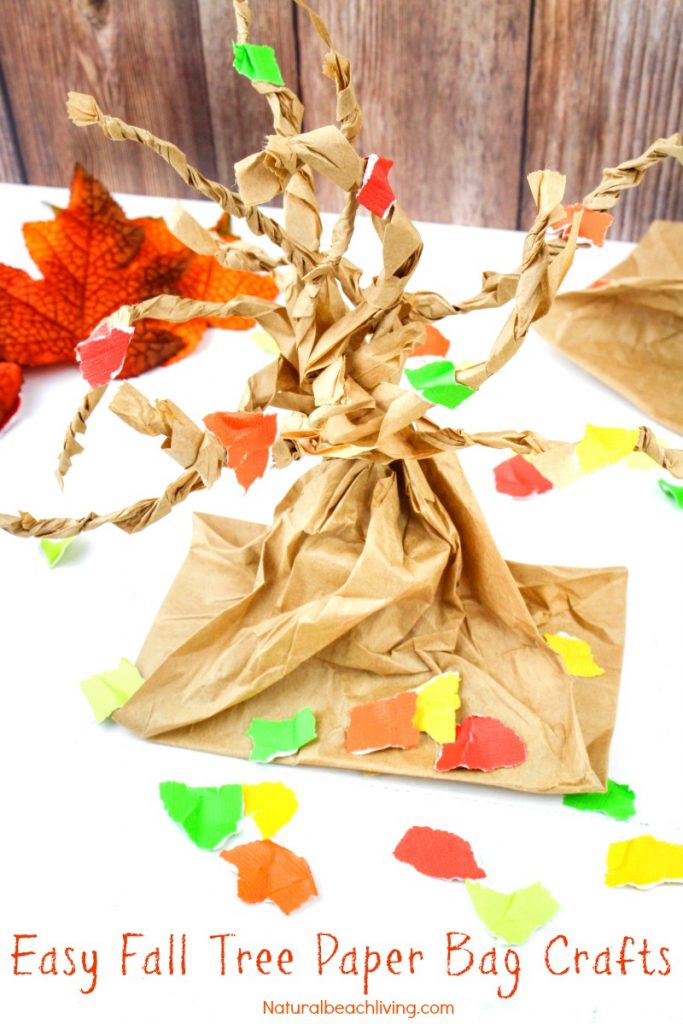 Fall Tree Paper Bag Crafts Kids Love, Easy Tree Craft for Kids, Paper Bag craft for kids, Fall Crafts for Kids, Fine motor activity for toddlers & Preschool