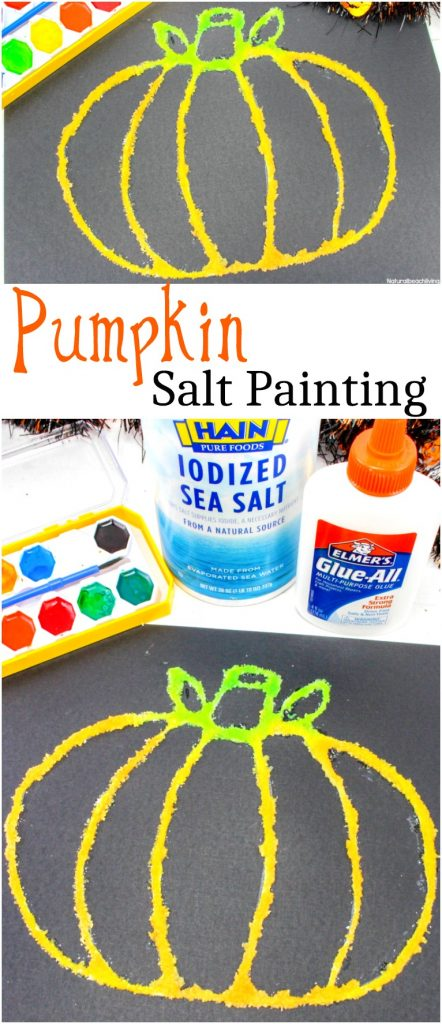 Pumpkin salt painting, easy Halloween art ideas for preschool
