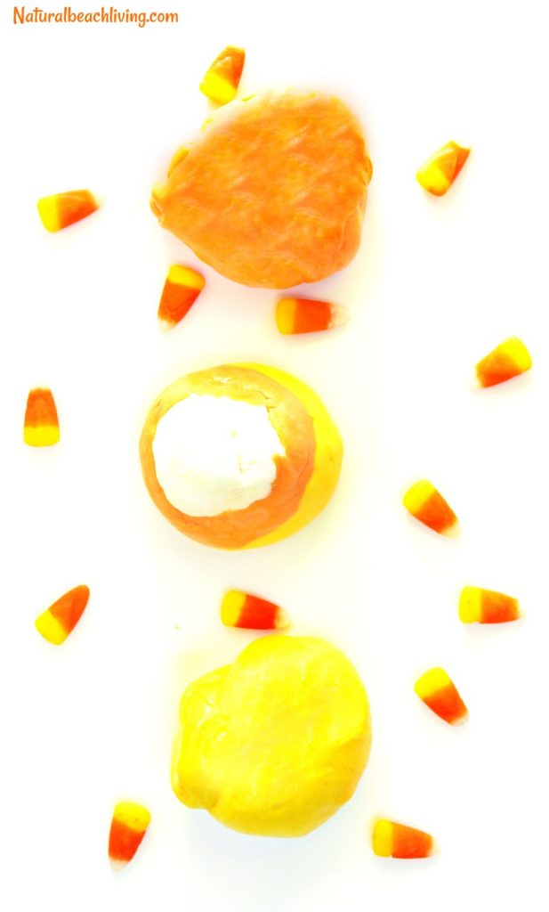 How to Make Putty, Candy Corn putty recipe, The Best Putty Recipe, Makes a great therapy putty, stress reliever, Fall sensory play, Halloween Putty Recipe for Kids