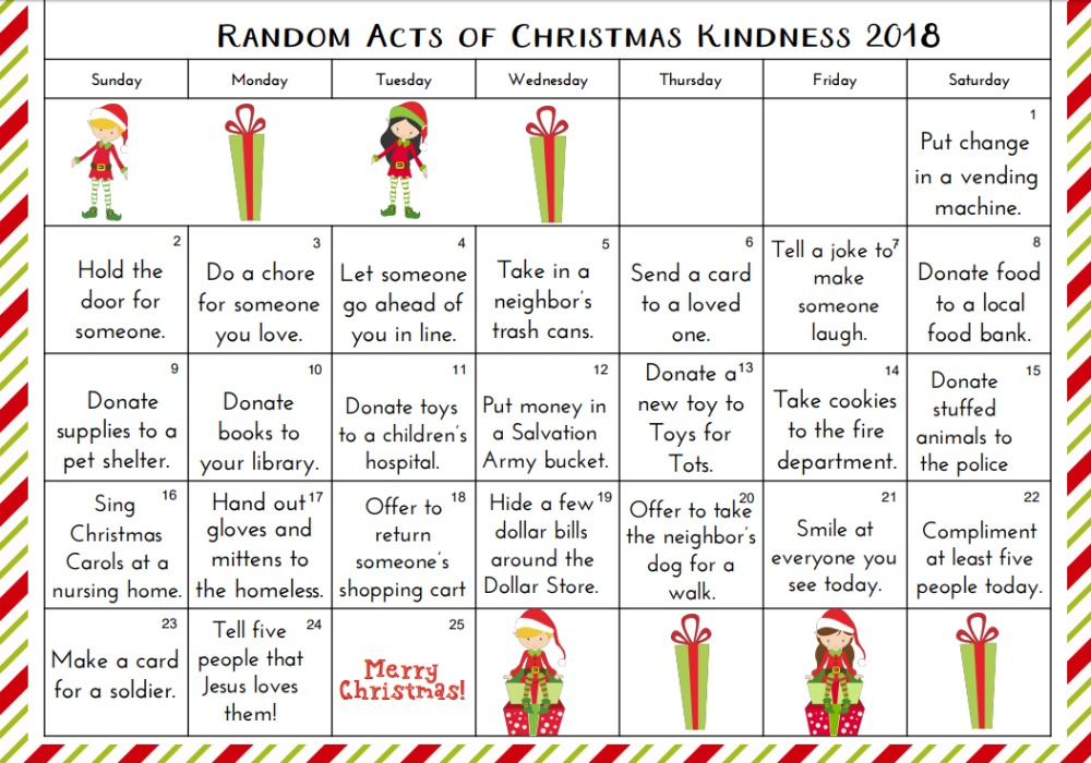 Random Acts of Kindness Calendar, Random Acts of Kindness Christmas Gift Tags, Random Acts of Kindness Ideas, Christmas Advent Printables, Advent ideas, Elf activities, Christmas Bag Tags